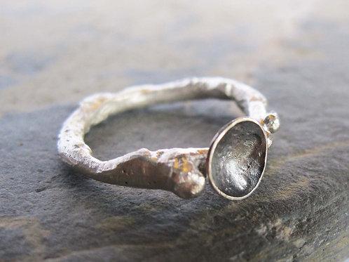 organic grey sterling silver ring