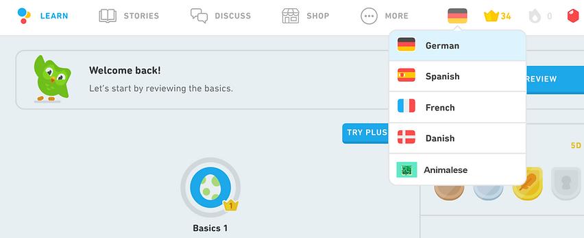 animalise new language on duolingo.png
