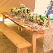 A table dressed for dinner