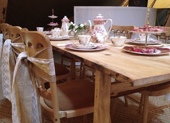 Chairs at a rustic table