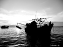 Black and White of fishing boat silhouette
