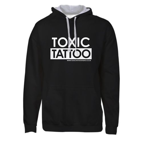 Toxic Tattoo Box Logo - Varsity Contrast Hoodie (Black)