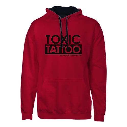 Toxic Tattoo Box Logo - Varsity Contrast Hoodie (Red)