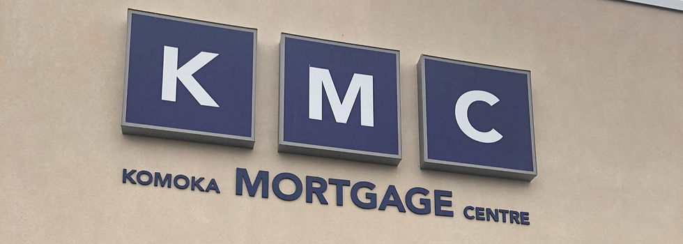 A picture of the Komoka Mortgage Centre logo sign that hangs over the entryway to the Komoka Mortgage Centre.
