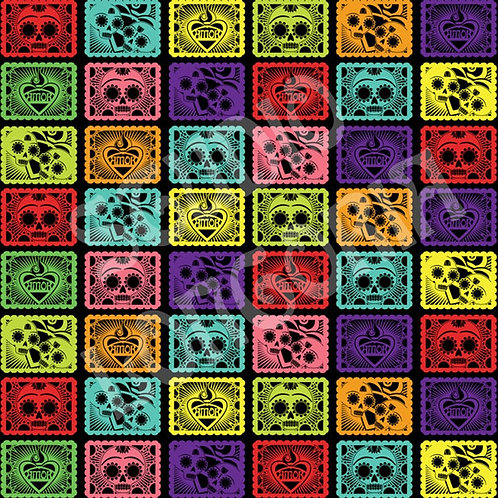 Black Papel Picado Fabric