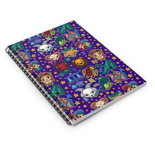 Purple Zodiac Spiral Notebook - Ruled Line