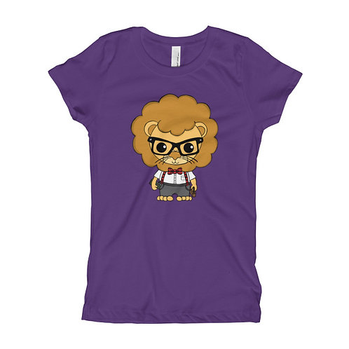 Nerdy Lion Girl's Slim Fit Tee