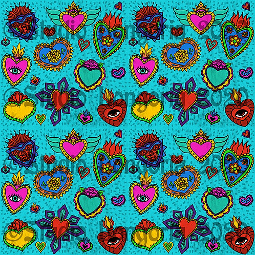 Corazon Milagros Fabric Teal