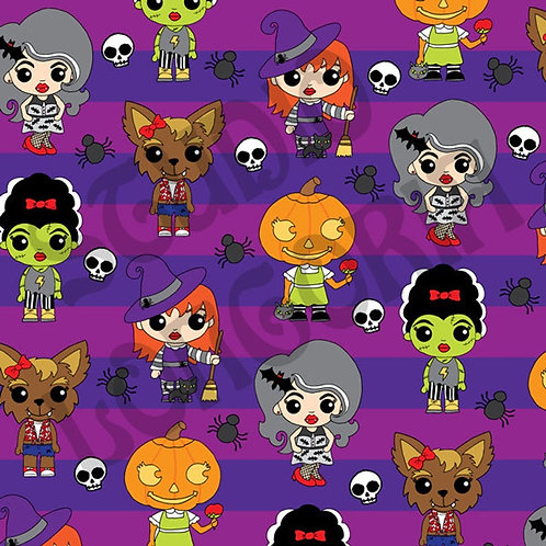 Ghouly Girls Stripes Fabric