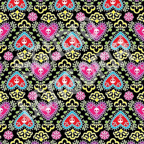 Dia De Los Muertos Corazon Black Fabric