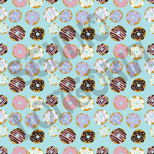Blue Donuts Fabric