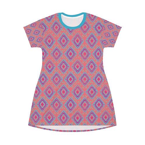 Modern Serape Coral Diamonds All Over Print T-Shirt Dress