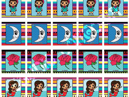 Loteria Serape Small Panels Fabric