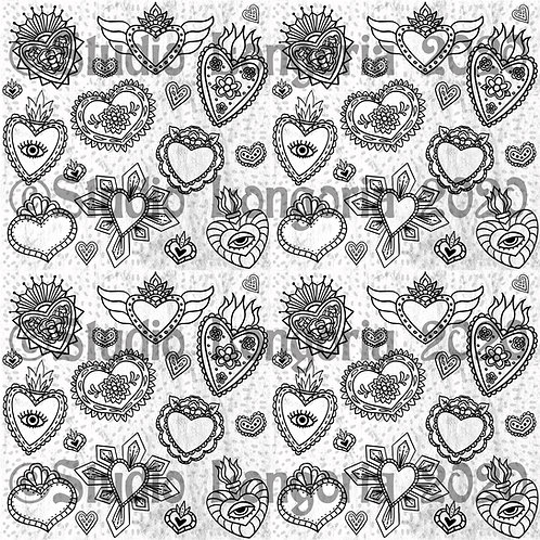Corazon Milagros Fabric BW