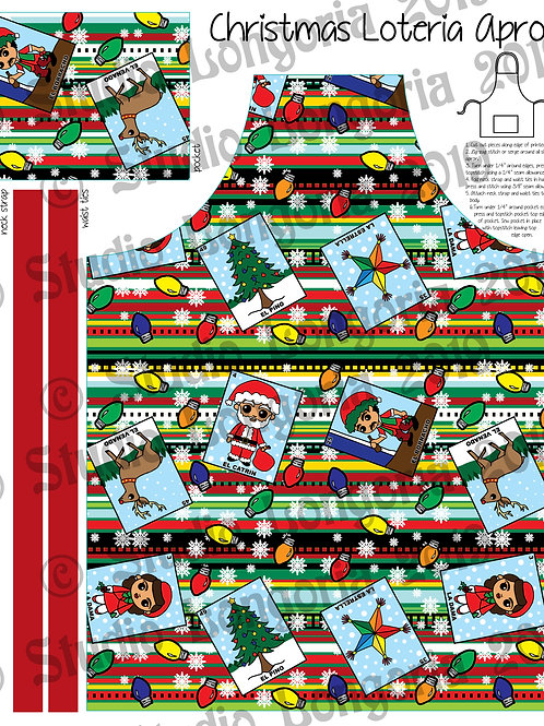 DIY Apron Fabric Panel Christmas Loteria