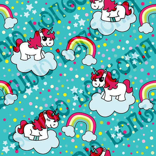 Blue Unicorns Fabric