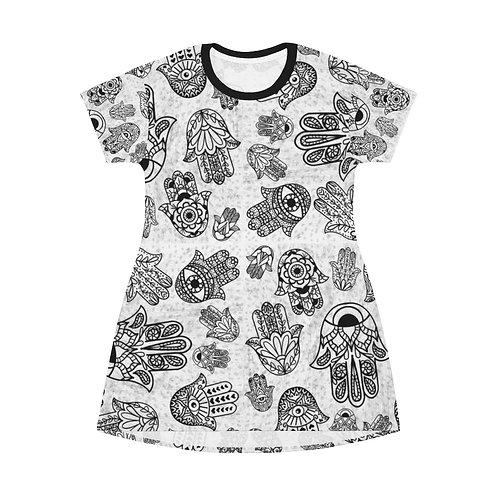 Hand of Fatima All Over Print T-Shirt Dress