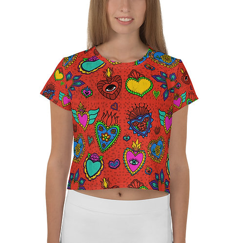 Corazon Milagros All-Over Print Crop Tee