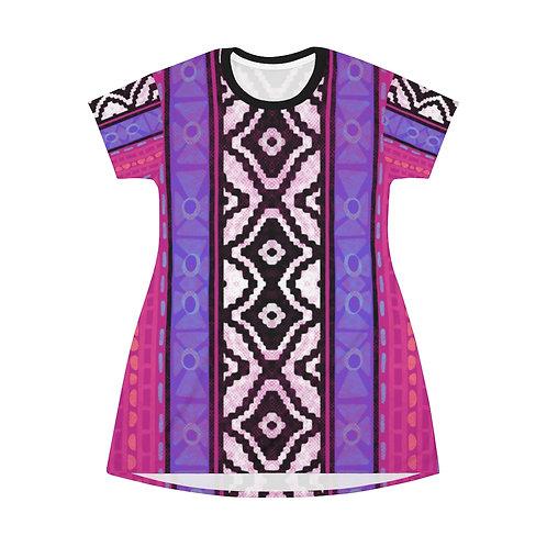 Modern Serape Ojo Stripe All Over Print T-Shirt Dress