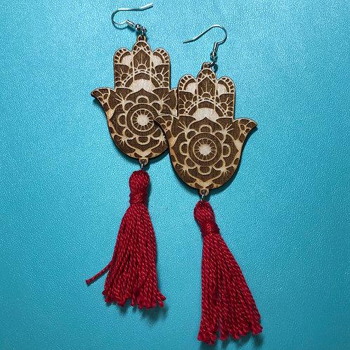 Hand of Fatima Tassel Earrings