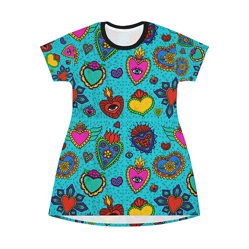 Corazon Milagros All Over Print T-Shirt Dress