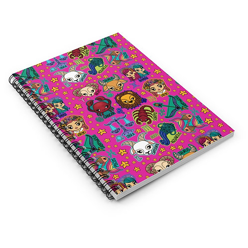 Pink Zodiac Spiral Notebook - Ruled Line