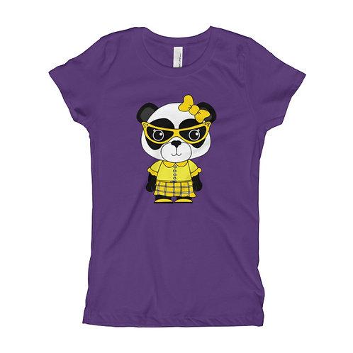 Nerdy Panda Girl's Slim Fit Tee
