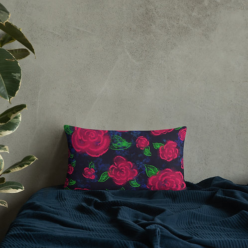 Neon Blooms Basic Pillow