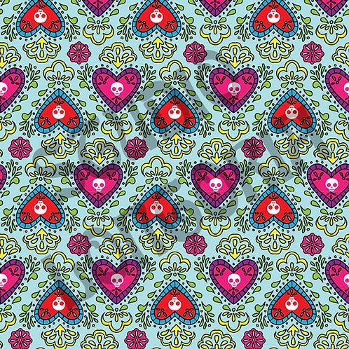 Dia De Los Muertos Corazon Blue Fabric