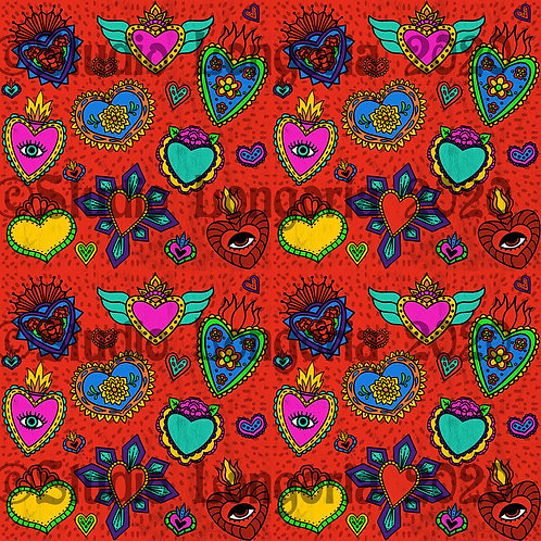 Corazon Milagros Fabric Red