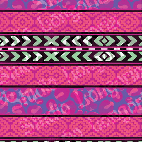 Modern Serape-Pink Leopard Stripes Horizontal