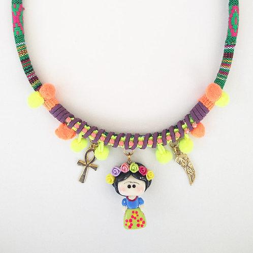 Frida Khalo Necklace - Neon