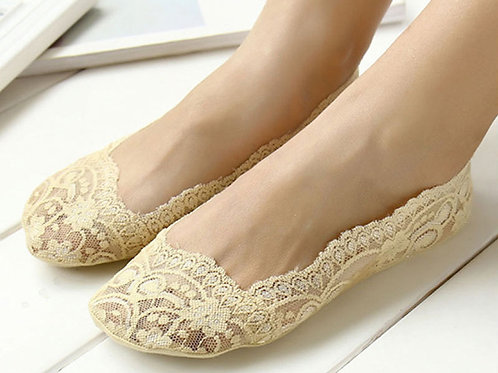 Low lace socks (nude colour) - Package of 3 pairs