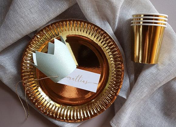 Papperstallrikar metallic guld