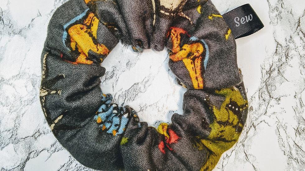 Dinosaur dark gray scrunchie