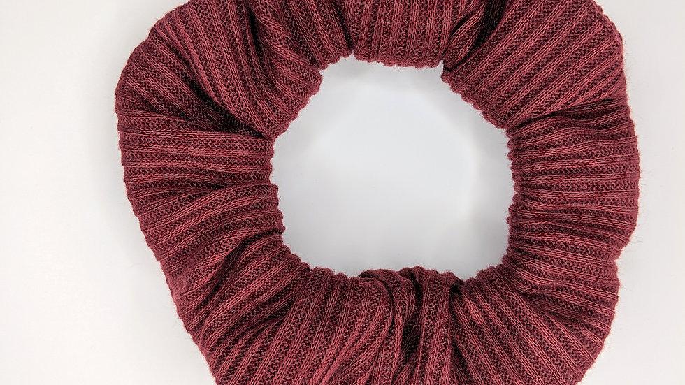 Maroon rib knit scrunchie