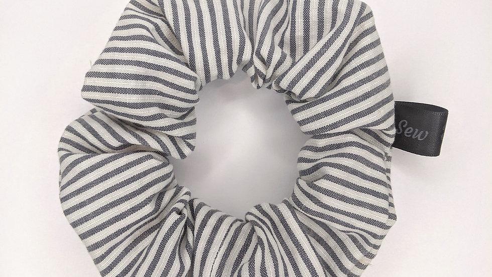 Gray striped scrunchie