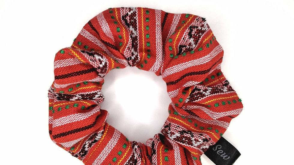 Red tone colorful, Guatemalan scrunchie