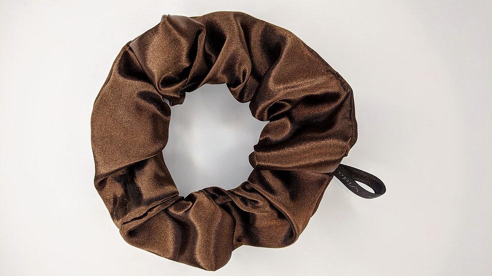 Chocolate satin scrunchie