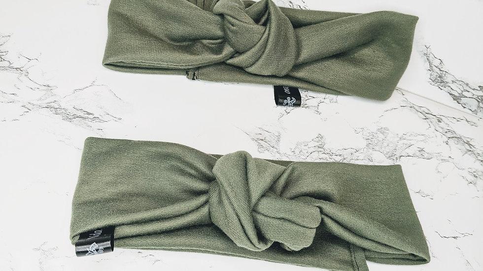 Olive green knot headband