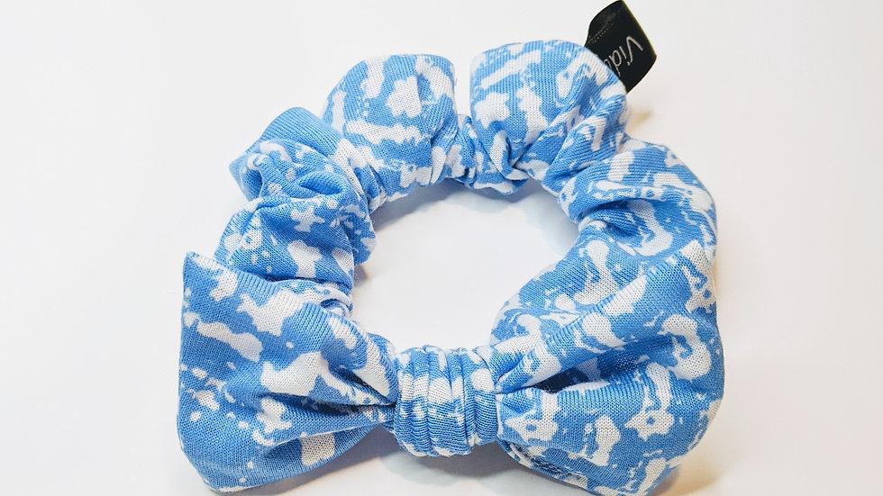 Blue & white scrunchie