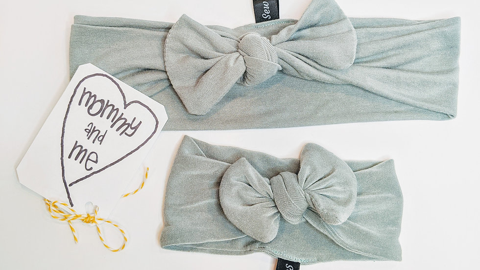 Sage green mommy & me headbands