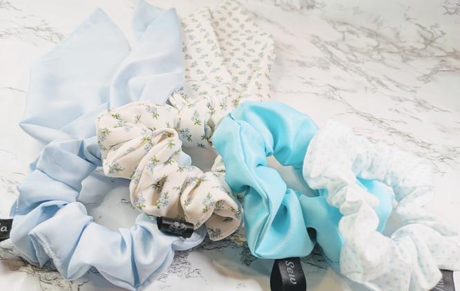 June blue scrunchies