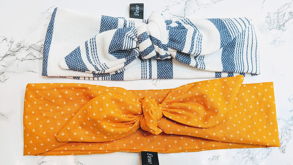 Orange with cross details & blue with white headwraps