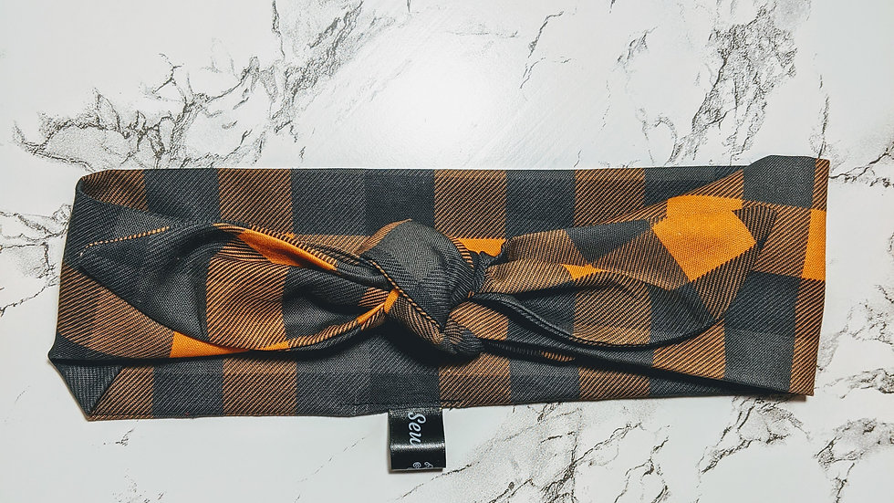 Orange & black plaid headwrap