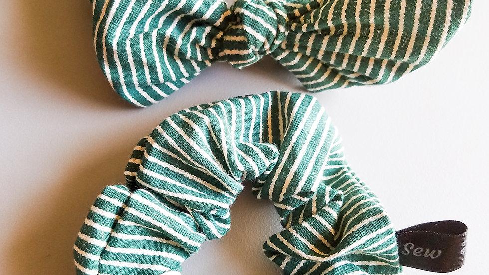 Green & white striped scrunchie