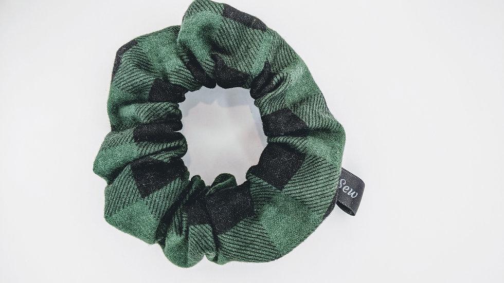 Dark green plaid scrunchie