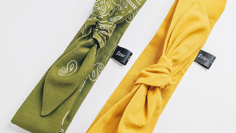 Mustard yellow & Olive green headwraps