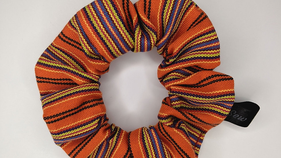 Orange with colorful stripes, Guatemalan scrunchie