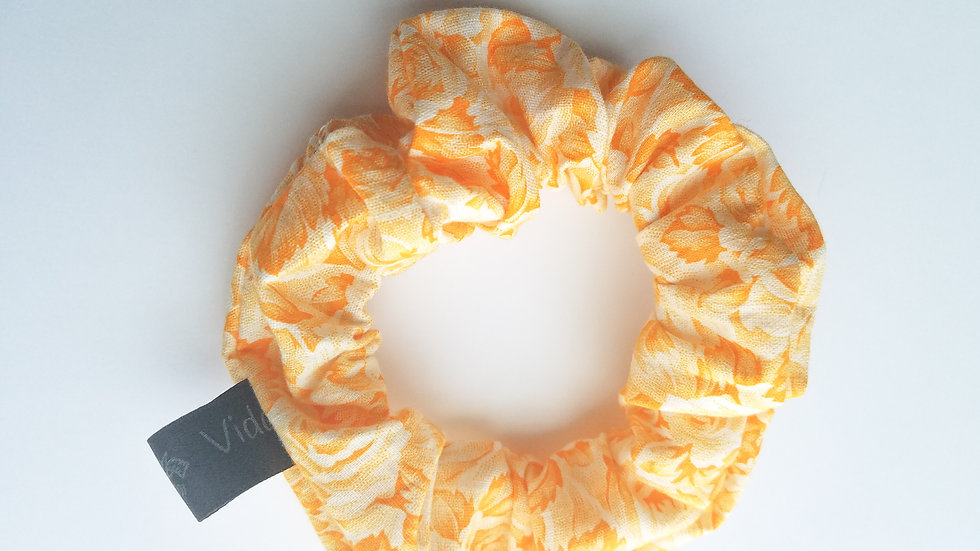 Yellow scrunchies with sketched orange leaves & roses